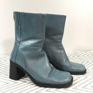 Aldo Vintage 90s Blue Square Toe Leather Boots